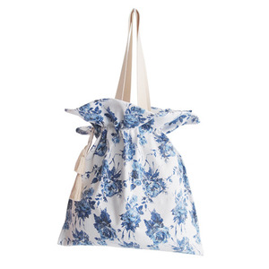 blue flower shirring bag